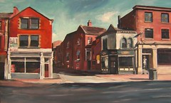 Morning Wakefield Westgate My painting (Captain Wakefield) Tags: road light summer sky woman west art buildings painting asian cityscape shadows yorkshire oil shops wakefield townscape westgate frount takeaways samuelburton