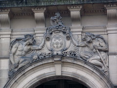 Thor & Vulcan on Sheffeild Town Hall (Thorskegga) Tags: uk england building english hammer one 1 town hall heraldry arms god britain coat yorkshire grade classical british vulcan thor listed pagan heathen heraldic asatru heathenry sheffeild