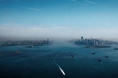 Jearsey City and New York City (Wunderworld) Tags: city morning blue mist newyork boats view air boote hudsonriver blau fluss manhatten luft bilder morgens jearseycity