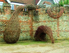 Tendril and urban aardvarkbirdbadger drinking (Mark and Rebecca Ford Art Sculpture) Tags: sculpture flower bird art festival shadows exhibition tendril willow hazel installation badger dogwood woven carpark aardvark chichester flowerfestival dayofthetriffids chichestercathedral flintwall canonlane willowdome southdownsnationalpark mobiledome treasurycarpark cathedralrsstoration everybooktellsastory jubileewechicathedralflowers