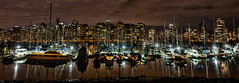 Vancouver Yacht Club (w4nd3rl0st (InspiredinDesMoines)) Tags: longexposure travel blue red wallpaper vacation panorama orange cloud canada reflection water rain skyline night vancouver sailboat marina canon fun boats bay harbor dock sailing bc screensaver cloudy outdoor pano tripod panoramic 5d stanleypark coal 1740 vanguard 2012 coalharbor computerdesktop dontmiss bestplaces 5dmk2 altapro263at