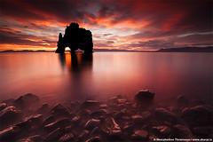 Hvítserkur in Húnaflói, north Iceland (skarpi - www.skarpi.is) Tags: sunset red sculpture rock sunrise dark island volcano lava iceland rocks mood moody north smooth eruption ísland magma darkmood hvitserkur húnaflói vatnsnes hvítserkur krossanes norðurland serkur