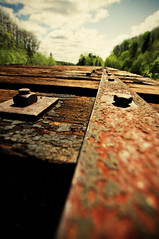Rusty Trussel (BWS052) Tags: bridge canada abandoned rural hardware sony country neglected traintracks tracks forgotten alpha renfrew rundown brokendown delapidated sonyalpha a580 bwsphotoography