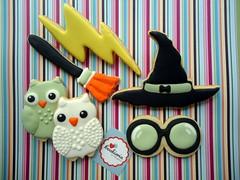 Cookies de Harry Potter (Cookieria by Margaret) Tags: cookie harrypotter biscuit owl coruja bolacha biscoito cookiedecorado biscoitodecoradoharrypotter