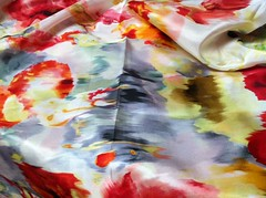 watercolor floral silk crepe de chine