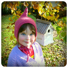 Olive, Lutin Hat (Shara Lambeth) Tags: pink halloween hat costume rainbow knitting handmade olive knit handknit tie melbourne pixie fairy cap goblin beanie bonnet winterfashion lutin icord