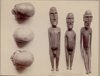 Skull, 3, with Incised Designs Figure, Wood:Effigy Called Kava Kava Moai 1889