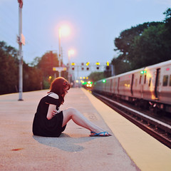 Just this cold reality (ginaballerina.) Tags: nyc cold girl station train lights ashley