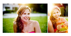 Sharon. (Gert-Jan De Baets) Tags: portrait sun sunlight flower color green girl smile 50mm shoot sony flare sal50mmf14