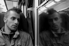 Un pensiero lungo i binari Modena-Bologna (Simo_SCRIC_Corrao Eagle Eye79) Tags: portrait people blackandwhite canon persone ritratto treno biancoenero panico modenabologna