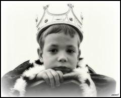 King William (Steve.T.) Tags: boy portrait blackandwhite mono king fuji fancydress youngboy hs10 ommot