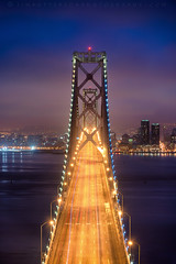 Morning Commute - San Francisco, California (Jim Patterson Photography) Tags: sanfrancisco california city morning travel urban fog skyline sunrise outdoors dawn lights bay spring treasureisland scenic baybridge bluehour yerbabuenaisland jimpattersonphotography jimpattersonphotographycom seatosummitworkshops seatosummitworkshopscom