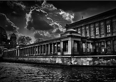 Museum Island (MFotography*) Tags: city windows sky bw lake building berlin water museum architecture clouds digital photoshop canon river germany island eos sigma wideangle german 1020mm pillars hdr lightroom 500d