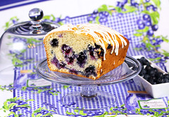 Blueberry Bread on a Stand (IrishMomLuvs2Bake) Tags: food orange bread dessert fun sweets bluberries compote blueberrybread