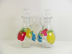 Oil Vinegar Cruet Fruit Hand Painted Set Apple Pear Blueberries (Painting by Elaine) Tags: apple kitchen glass fruit bottle dispenser painted blueberry handpainted pear blueberries cruet oilvinegar oliveoilbottle paintingbyelaine