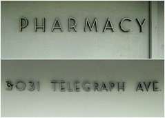 Berkeley Central Medical Building: Pharmacy and Address signs (Stewf) Tags: sign metal berkeley lettering lowwaistedletters