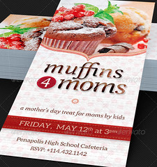 Muffins for Moms Event Rack Card Template (godserv) Tags: birthday school ladies party love church restaurant muffins spring cafe flyer women picnic day baker tea mother womens retro mothers advertisement celebration invitation card rack bakery pastry valentines template