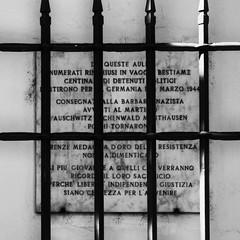 Resistenza (thesilvercitizen) Tags: plaque concentration blackwhite bars memories ironbars commemorate mansinhumanitytoman