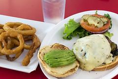 The Longhorn Burger and Onion Rings (pointnshoot) Tags: cheeseburger hamburger canonef50mmf12lusm boulevardburger