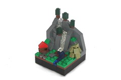 Land of Rauor, Landscape: Guild Creation Prize (soccersnyderi) Tags: trees house mountain river landscape waterfall lego micro
