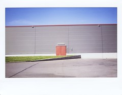 fragment of red (Ти Не Си Динозавър) Tags: street door blue shadow red sky sun abstract color green lines architecture polaroid alone outdoor streetphotography minimal fujifilm minimalism minimalistic washout instax 210