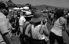 Hats (bingley0522) Tags: picnic trix hats diafine presidio yellowfilter mainpost bessar2a leicasummicron50mmf20iii epsonv500scanner foodtruckweekend