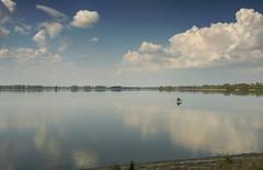 Fisherman (Maciej Wojciechowski) Tags: blue sky cloud lake beach nature water clouds spring fishing fisherman outdoor serene