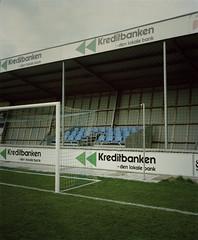 2 (Anders Hviid) Tags: blue film analog stand football goal kodak seat soccer negative end fc portra 160 plaubel makina sydvest