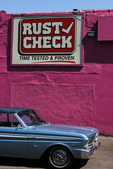 Time Tested (FollowFiend) Tags: city pink summer toronto ontario canada ford car st warm downtown garage oldschool queen falcon v8 humid