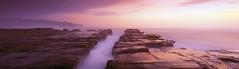 Ocean Pathway (rubberducky_me) Tags: ocean pink sea panorama lighthouse seascape film beach water sunrise purple velvia nsw linhof centralcoast norahhead linhoftechnorama