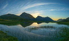 summer night in Tromvik (John A.Hemmingsen) Tags: panorama mountains reflection water clouds landscape midnight fujifilm midnightsun troms tromvik