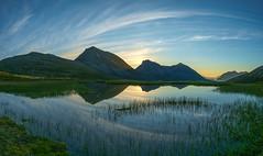summer night in Tromvik (John A.Hemmingsen) Tags: panorama mountains reflection water clouds landscape midnight fujifilm midnightsun tromsø tromvik