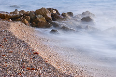 Adriatic waves (Milos Kondic) Tags: plaza blue sunset sea cold beach sand nikon rocks waves croatia more shore gravel adriatic hrvatska dalmatia dalmacija stene d60 obala jadransko kamenje podgora stijene pijesak valovi talasi sljunak