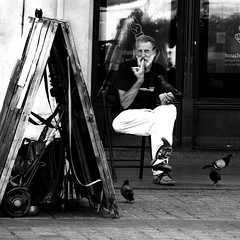 the man and the pigeon part 2 in krakow (NILLIPETRO) Tags: bw white man black blackwhite chair pigeon bn piccione