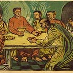 "<b>Last Supper</b><br/> Terje Grostad ""Last Supper"" Graphic Tint, 1959 LFAC #664 <a href=""//farm8.static.flickr.com/7083/6900002708_5e5a3011aa_o.jpg"" title=""High res"">∝</a>"
