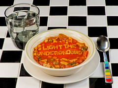 LTU Soup (Light The Underground) Tags: food ice cup studio tile soup nikon letters style spoon fullframe vegtable campbells d3 ltu lighttheunderground