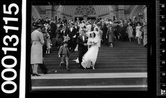 Portrait of bride and groom leaving St Marys Cathedral, Sydney (Australian National Maritime Museum on The Commons) Tags: wedding people woman fashion guests vintage groom bride cathedral sydney australia bridalparty stmaryscathedral vintageclothing vintagephotograph vintagefashion vintagepictures vintagepicture williamhall vintagewedding vintagebride williamjhall womensvintagefashion williamhallcollection williamjhallcollection