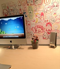 Jon Burgerman in the house! (purplelime) Tags: art apple print poster imac desk doodles homeoffice jonburgerman