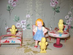Hey! It was Easter! (Rebecca's Collections) Tags: chickens japan hongkong plastic 1950s 1960s vintagewallpaper