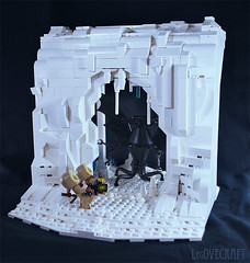 At the Mountains of Madness - set (captainsmog) Tags: snow black cold ice weird lego retro lovecraft horror cave explorers vignette diorama encounter southpole moc elderthing atthemountainsofmadness