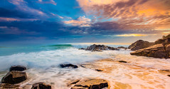 No Matter Where Life Takes Me (James.McGregor) Tags: ocean longexposure light sunset seascape beach beauty sunrise canon point landscape james paradise waves natural australia queensland hastings swell byronbay surfersparadise goldcoast 1740l mcgregor fingal cabarita 5dmk2