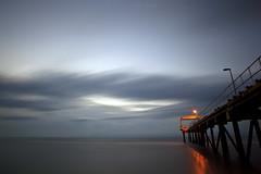 _MG_0215 (HardBreakKid) Tags: ocean longexposure blue sunset sea sky seascape beach water yellow rock clouds canon prime pier seaside sand fishnet lampost 20mm brunei pipeline manfrotto fishery nd400 055prob meragang eos5dmkii