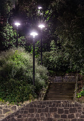 Lamps and Steps (russellstreet) Tags: newzealand night streetlight streetlamp steps auckland lamppost beachroad aucklandcbd