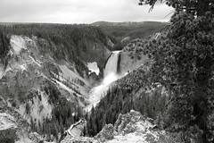 A Look at the Falls (andrewpug) Tags: park blackandwhite white mountain black water waterfall yellowstone wyoming