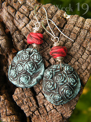 Scattered Roses ~ 52 Earrings: week 19 (TreeWingsStudio) Tags: roses turquoise polymerclay redcoral 52earrings