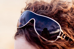 (danielle kiemel) Tags: ocean autumn sunset sea portrait sky selfportrait reflection beach girl female clouds glasses nikon photographer young australia lagoon nsw april centralcoast curlyhair 50mmf14 2012 wamberallagoon daniellekiemel wamberalbeach