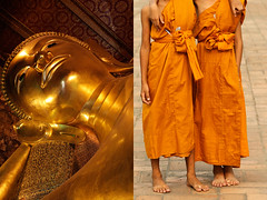 wat pho - thailand (Emmanuel Catteau photography) Tags: travel sleeping portrait orange tourism statue thailand temple gold holidays asia photographer dress friendship bangkok district buddha buddhist duo religion reporter young monk monastery national journey zen planet conde lonely reclining tradition wat pho geo geographic nast rattanakosin catteau wwwemmanuelcatteaucom