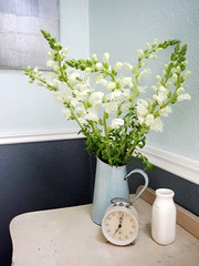 flowers 5 (Defteling Design/alexwijnen) Tags: flowers blue bedroom flowerbouquet blueandwhite countrycottage bedsidetable chairrail bluewalls frenchcountry vintageclock cottagechic enamelpitcher whitesnapdragons frenchenamelware
