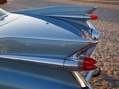 De Ville Fins & Tail Lights (brandsvig) Tags: blue usa sunlight classic car back skne sweden harbour rear cadillac bil sverige fins coupedeville americanclassic lomma hamn fenor veteranbilar