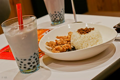"""$8 Set (Just """"For""""tography) Tags: food chicken asian cuisine milk bubbletea rice tea sausage australia melbourne victoria bubble leisure pearl fried taiwanese taro salted"""